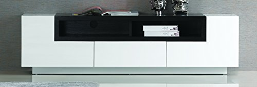 J and M Furniture 176394 TV Stand 002 in White High Gloss & Dark Oak
