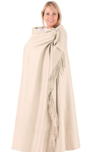 Fishers Finery - Fringe Throw Blanket - 100% Pure Cashmere - Warm Stone