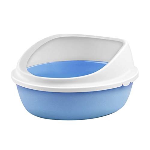 Jlxl Cat Toilet, Semi-Closed Pet Loo Tray Elliptical Shape PP Material Hygienic Litter Box Non-Slip 4-10kg Cat (Color : Blue, Size : ()