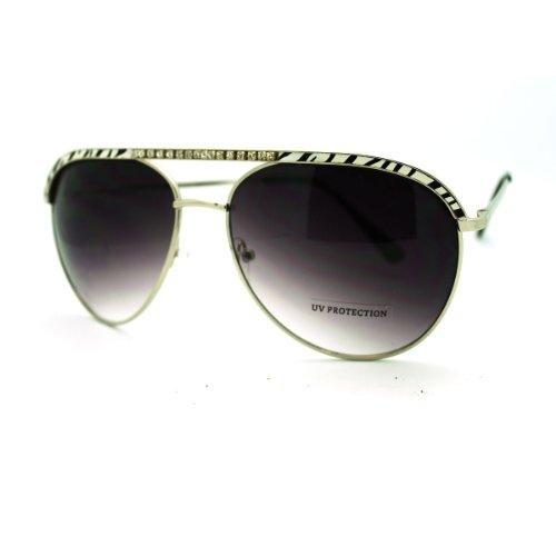 Rhinestone Zebra Print Top Aviators Womens Fashion Sunglasses - Silver