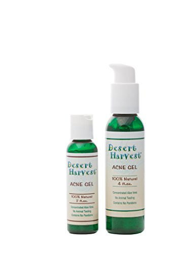 Desert Harvest Acne Gel (4 oz) - All-natural, 100% organic aloe vera, antibacterial and antifungal to help relieve acne, cysts, boils & reduce redness, swelling, scarring and skin discoloration. ()