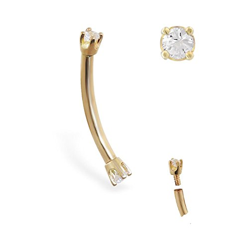 MsPiercing 14K Gold Internally Threaded Curved Barbell With Clear CZ Gems, Gauge: 14 (1.6Mm), 14K Yellow Gold, 5/16