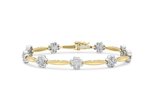 """9ct or 2couleurs 0,25ct Diamant Fleur Bar Lien Bracelet 19cm/7,5"""""""