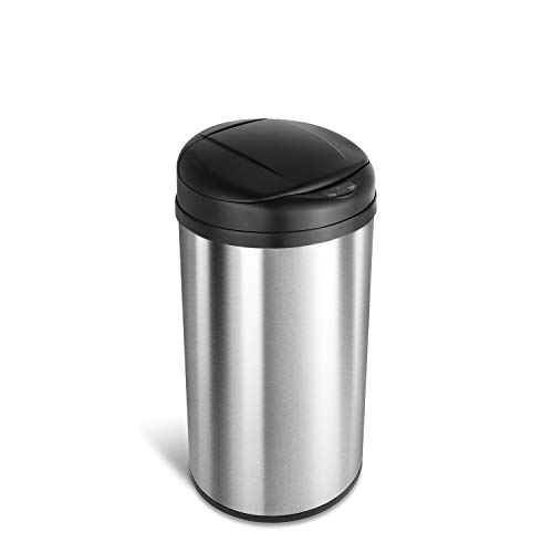 NINESTARS DZT-49-8 Automatic Touchless Infrared Motion Sensor Trash Can, 13 Gal 49L, Stainless Steel Base (Round, Black Lid) ()