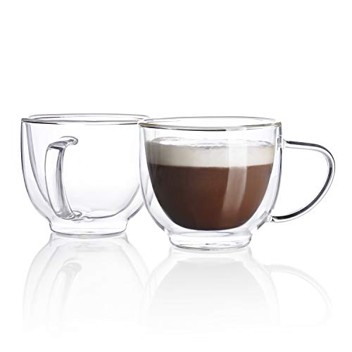 Sweese 4620 Glass Cappuccino Cups - 7 Ounce Double Walled Coffee Glasses for Specialty Coffee Drinks, Latte, Cafe Mocha and Tea - Set of 2