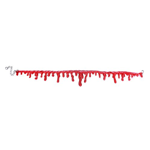 Halloween Bloody Slit Throat Dripping Blood Choker Necklace Horror Accessory