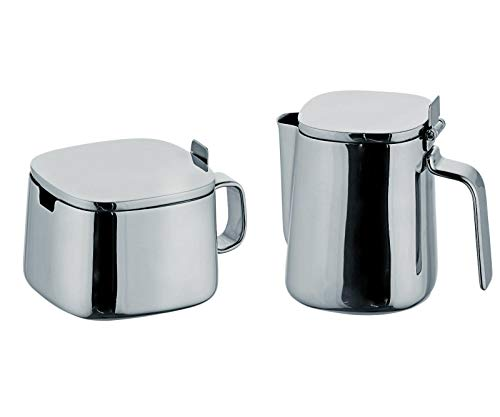 (Akkapeary Stainless Steel Sugar Bowl & Creamer Set Silver 10oz 7oz square shape rounded edges modern look Hotel Restuarant flipped open 180° angle Cooking Kitchen Tool simple elegance Design perfect)