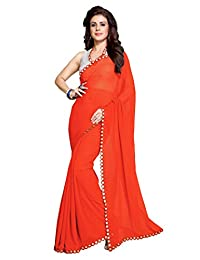 Sourbh Women's New Dark Orange Traditional Plastic Mirror Lace Border Georgette Saree with Blouse Piece