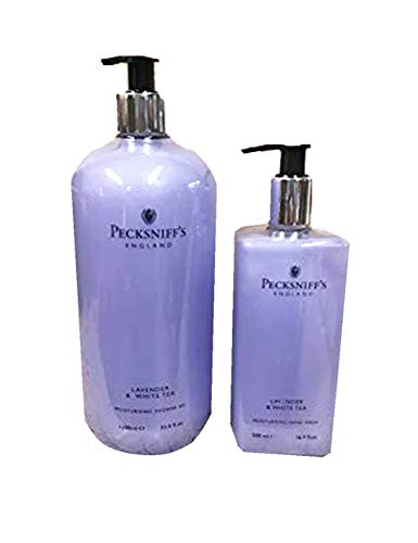 2 PIECE SET Pecksniffs Vitamin Enriched Shower Gel 33.8 Fl. Oz. AND Hand Wash 16.9 Fl. Oz From England, Lightly fragranced for gentle, soft hands with Vitamin B Lavender and White Tea