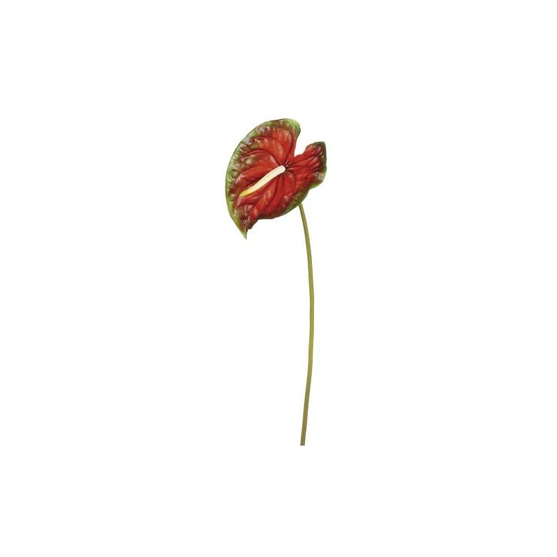 "silk flower arrangements 26"" large anthurium spray red green (pack of 12)"