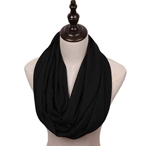 MissShorthair Lightweight Plain Infinity Scarfs for Women(Black)