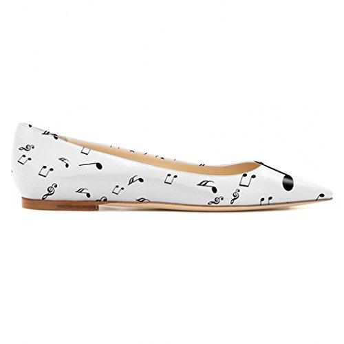 Printing Shoes Comfort Pleather Womens Ballet White YCG Flat Black qEp1Yxw