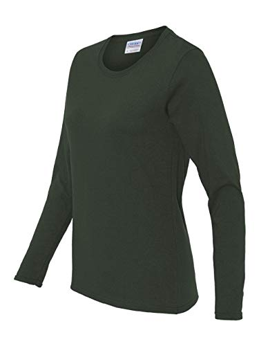 (Gildan womens Heavy Cotton 5.3 oz. Missy Fit Long-Sleeve T-Shirt(G540L)-FOREST GREEN-XL)
