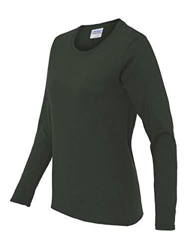 Gildan womens Heavy Cotton 5.3 oz. Missy Fit Long-Sleeve T-Shirt(G540L)-FOREST GREEN-XL