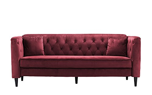 Mid-Century Tufted Velvet Sofa, Living Room Couch with Tufted Buttons (Red) - Red Velvet Sofa