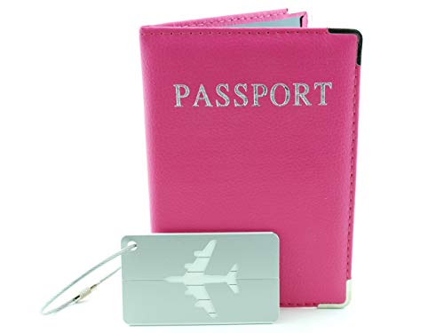 Tag Vuitton Luggage Louis (Leather Passport Cover for Women and Bonus Matching Luggage Tag- RFID Privacy Protected Pink Travel Accessories Combo Set)
