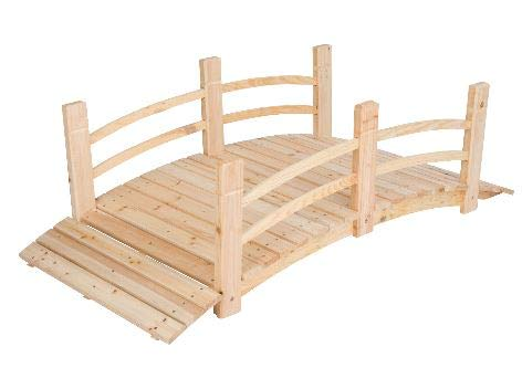 Genevra- Wooden Bridges for Yard-Adding Instant Charm to Your Garden-Color Natural 5 Ft Cedar Wood with Two Rails