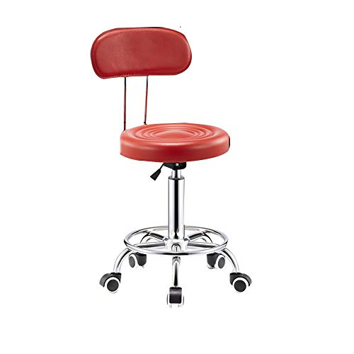 27 Drafting Stools (XUERUI Rolling Swivel Stool Chair Bar Chair Office Medical Work Barbershop Front Desk Adjustable Height Backrest Leather (Color : Red))