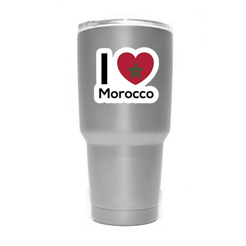 Love Morocco Flag Decal Sticker Home Pride Travel Car Truck Van Bumper Window Laptop Cup Wall MKS0271 Two 3 Inch Decals