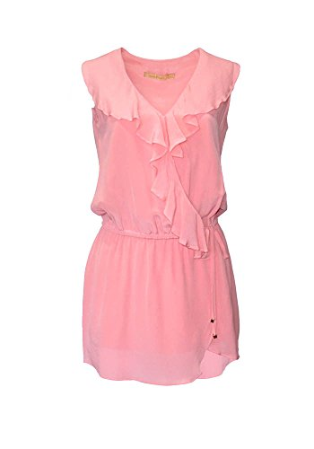 Volants MiniKleid Candy Pires Seide Frau Design 100 Aline Pink Milano Ana HPwaFq