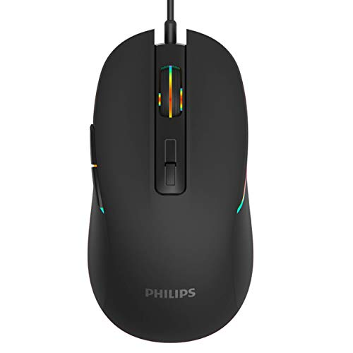 PHILIPS RGB Wired Gaming Mouse, 7 Programmable Buttons, Adjustable DPI, Comfortable Grip Ergonomic Optical PC Computer Gamer Mice