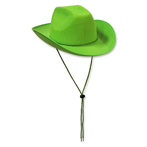 - Pack of 6 Western Themed Lime Green Felt Cowboy Hat Costume Accessories