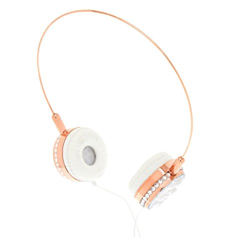 Claire's Girl's Glamorous Pearl Headphones - Rose Gold (Headphones Rhinestone)