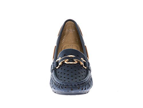 Navy Casual On CALICO Slip Slipper Moccasin Women's Loafers Nubuck KIKI Comfort Wedge Pw7Tp1q