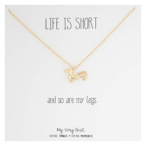 Necklace Dog Dachshund - My Very Best Short Legged Dachshund Necklace (Gold Plated Brass)