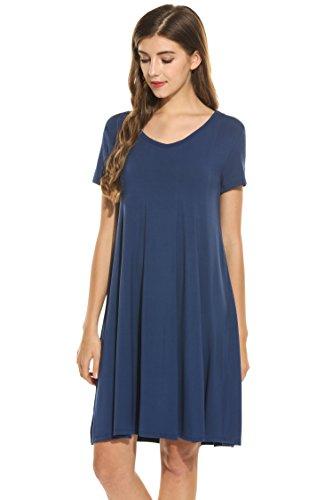 HOTOUCH Women Solid High Waist Summer Mini Dress (Navy Blue, XL)