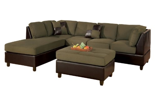 BOBKONA Hungtinton Microfiber/Faux Leather 3-Piece Sectional Sofa Set, Sage