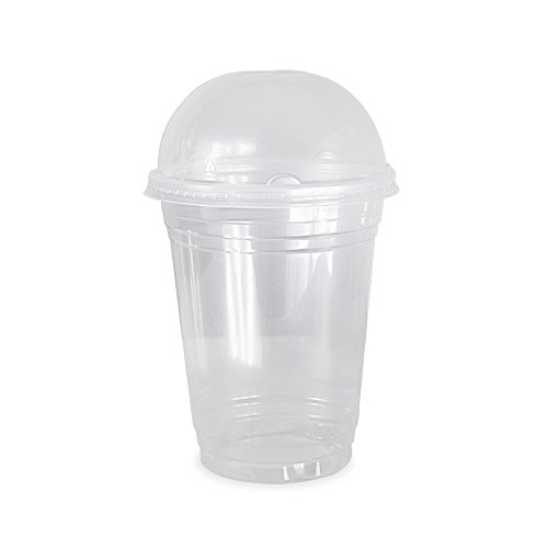COMFY PACKAGE 50 Sets 16 oz. Plastic CRYSTAL CLEAR Cups with Dome Lids for Cold Drinks, Iced Coffee,