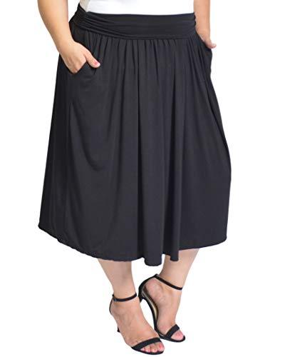 Stretch Is Comfort Women's Plus Size Midi Pocket Skirt Black 3X