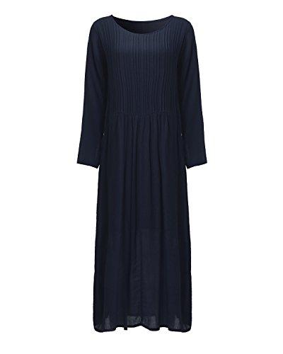 d874a9e1c1 Home Brands Auxo Dresses Auxo Women s Plain Round Neck Long Sleeve Casual  Loose Cotton Linen Maxi Dress Navy S.   