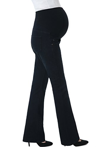 Cotton Jeans Maternity (Momo Maternity Women's Modern Boot Cut Denim Jeans - Black/Blue 31)