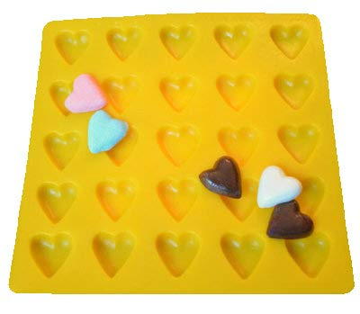 Yellow Rubber Mint Mold - HEARTS YELLOW RUBBER CHOCOLATE CANDY MOLD