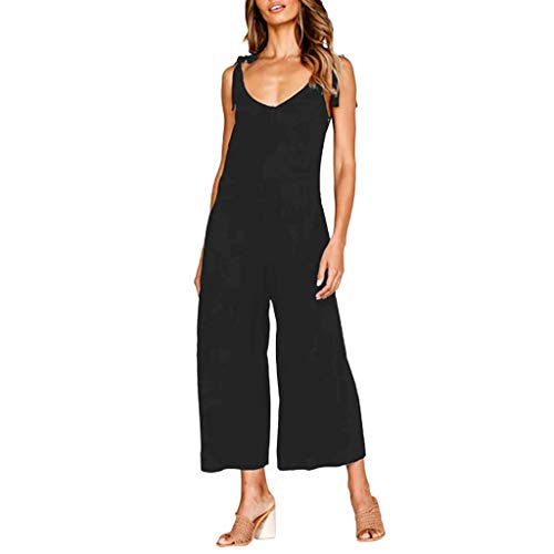 TOTOD Women's Sexy V-Neck Backless Strap Knot Jumpsuit Ladies Summer Solid Color Holiday Playsuit Loose Beach Pants Black