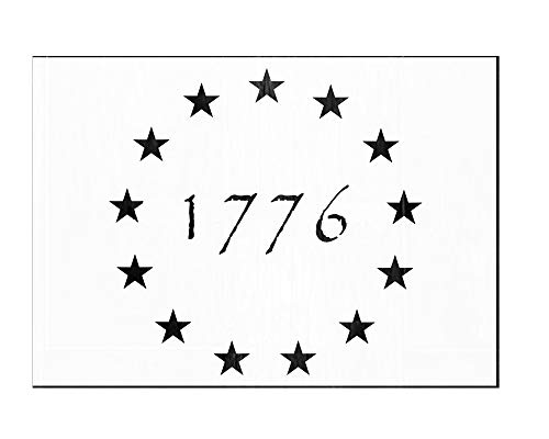 OBUY 13 Star 1776 Stencil for Painting on Wood, Walls, Fabric, Airbrush, More | Reusable 10.5 x 14.82 inch Mylar Template