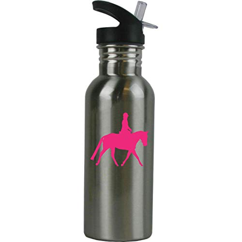 - Personalized Custom Equestrian Horse Riding Stainless Steel Water Bottle with Straw Top 20 Ounce Sport Water Bottle Customizable (Hot Pink)