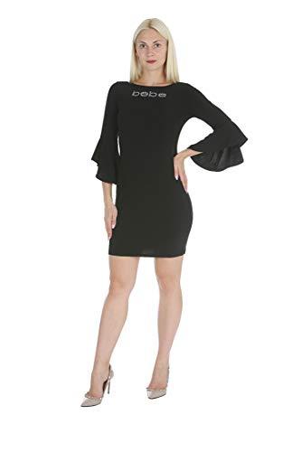 bebe Womens Logo Ruffle Sleeve Short Dress Black MD (Knit Bebe Dress)