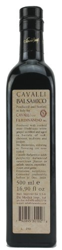 Cavalli Balsamic Condimento Balsamic Vinegar, 500ml (16.9oz) 2 produced with cooked grape must no added thickeners, coloring or flavors sweet/sour flavor good with salads, sauces, vegetables, roasts and game