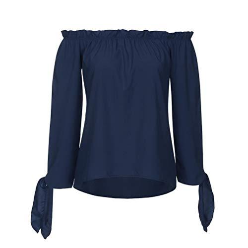 Femme Innerternet Tunique Autumn Bateau Manches Col Paules Shirt T Longues Marine DContract Top DNudEs Et Blouse tRHgqwR
