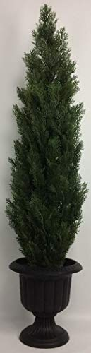 (Outdoor Artificial UV Rated 66 in Cedar Topiary Tree with Md Black Urn)