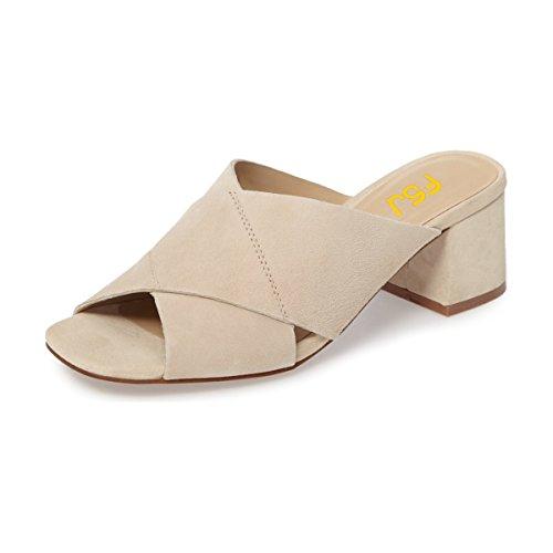 FSJ Women Casual Faux Suede Sandals Open Toe Chunky Low Heels Mules Comfortable Shoes Size 15 Beige by FSJ