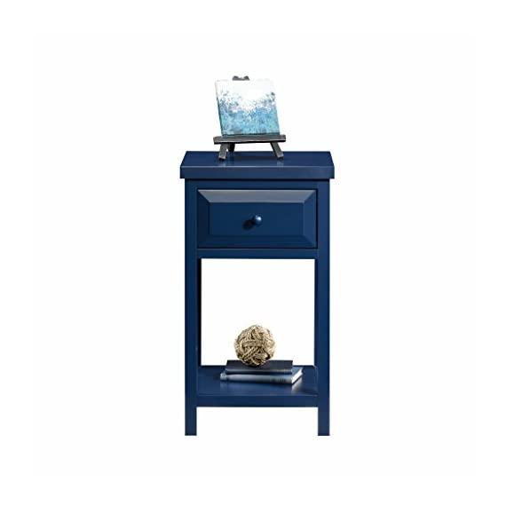 Sauder Cottage Road Side Table, Indigo Blue finish - Drawer features metal runners and safety stops Open shelf for additional storage Indigo Blue finish - nightstands, bedroom-furniture, bedroom - 31UYsHbOGWL. SS570  -
