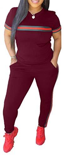 Women's Sexy Crew Neck T Shirts Short Sleeve Tracksuit High Waisted Pants Set Suit Sweatsuit 2 Pieces Outfits Plus Size