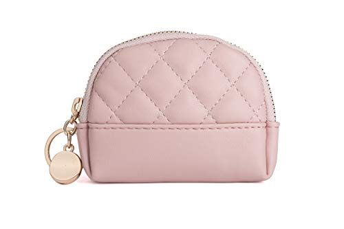 Albe Rita PU Women's Coin Purse With Zipper Coin Pouch Mini Size With Key Ring (Pink)