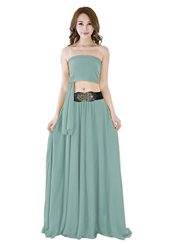 Sinreefsy Women Summer Chiffon High Waist Pleated Big Hem Full/Ankle Length Beach Maxi Skirt(Medium/Powder Blue)
