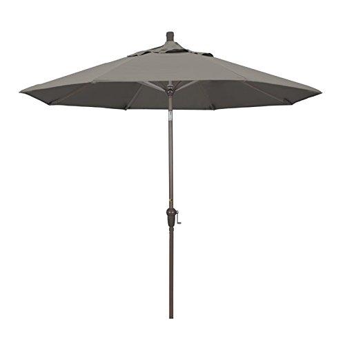 California Umbrella 9' Round Aluminum Market Umbrella, Crank Lift, Auto Tilt, Champagne Pole, Pacifica Taupe