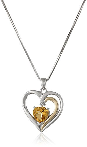 Sterling Silver and 14k Gold Citrine and Diamond Heart Pendant Necklace (.007 cttw, I-J Color, I2-I3 Clarity), 18